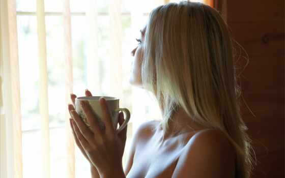 cup, напиток, blonde, плохо, душе, coffee, women, окно, девушка, настроение,