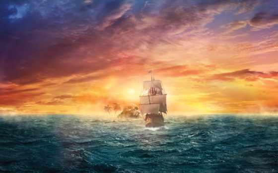 корабль, пиратский, пираты, закат, пользовательски, пляж, ocean, остров,