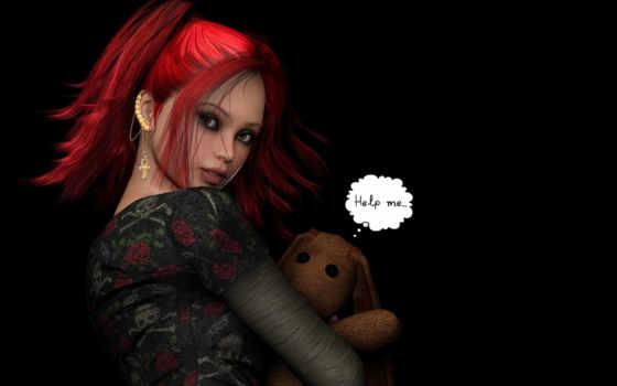 волосы, fantasy, красные