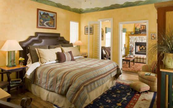 комната, спальная, кровать, интерьер, комнаты, спальной, ковёр,