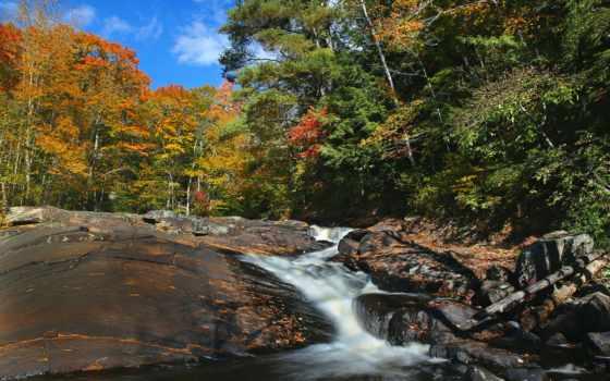 скалы, река, trees, склон, осень, онтарио,