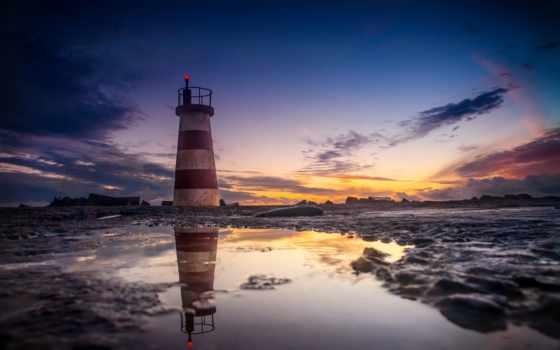 lighthouse, море, скалы, берег, камни, закат,