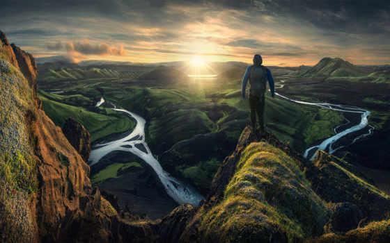 мужчина, горы, iceland