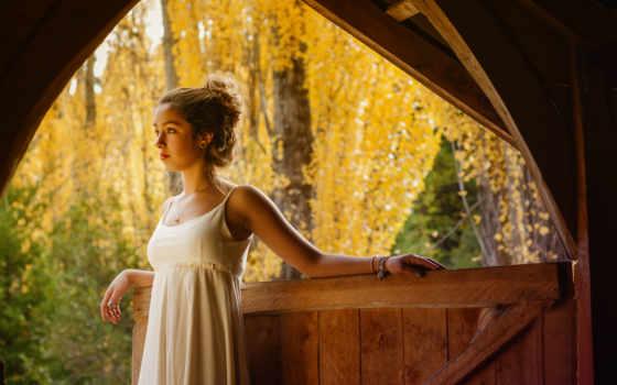 листва, падают, devushki, осень, lady, широкоформатные,