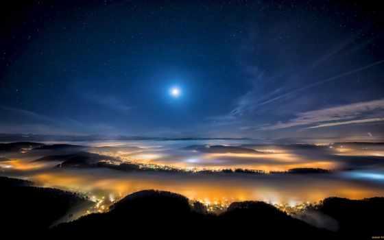 ночь, небо, clouds, космос, музыка, луна, stars, photography,