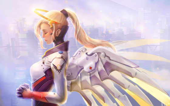 overwatch, mercy, angel, rub, корзину, details,