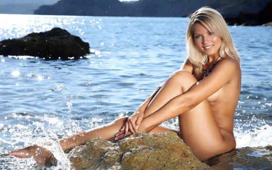 devushki, море, блондинка голая