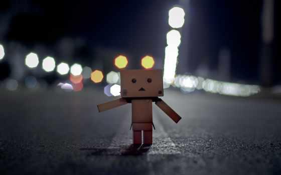 danbo, грусть, коробочка, дорога, разметка, ночь