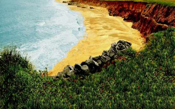 пляж, песок, берег, всех, которых, цифровые, есть, тег, break, природа,