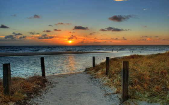 море, небо, пляж, закат, ocean, sun, рассвет, природа,