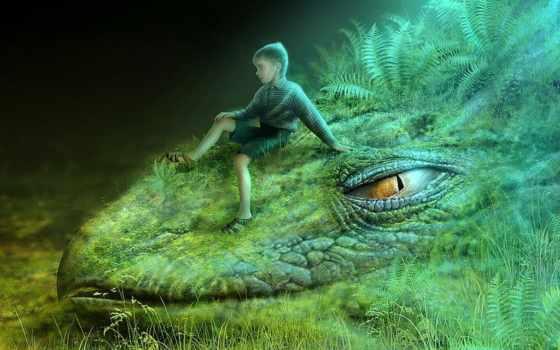 дракон, зелёный, картинка, fantasy, голова, art, сказочный, девушка, трава,