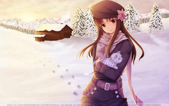 anime, девушка, снег, winter, арт, дом, кот, котенок, mikazuki, kanon, akira, деревья, хижина,