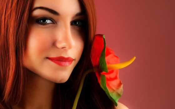 devushka, цветок, рыжая