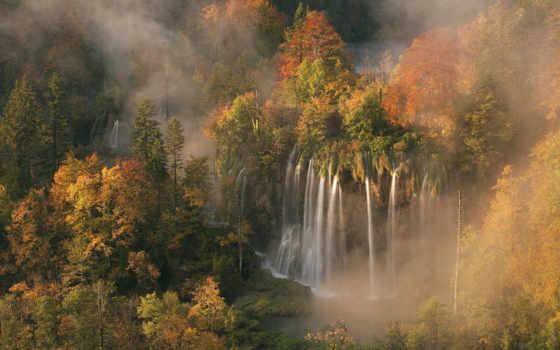 водопад, nat, осенние, осеннем, лесу, осенний, veliki,