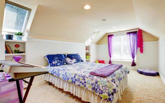 интерьер, широкоформатные, спальня, ковёр, потолок, марта, vaulted,
