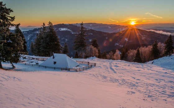 горы, winter, снег