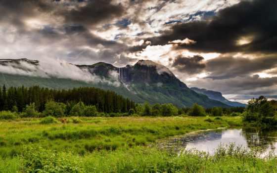 природа, norwegian, туры, landscape, картинка, горы, hemsedal, трава, норвегию, trees, река,