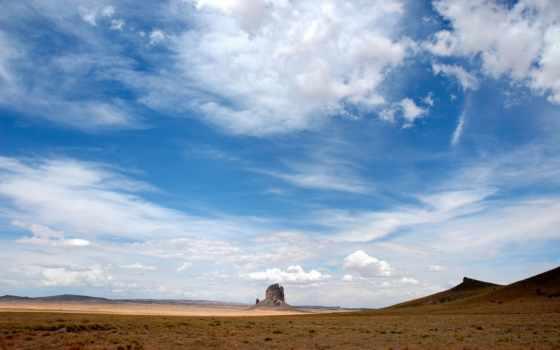 небо, пустыня, oblaka, голубое, воздушные, легкие, холмы, каньон, просторы, природа,