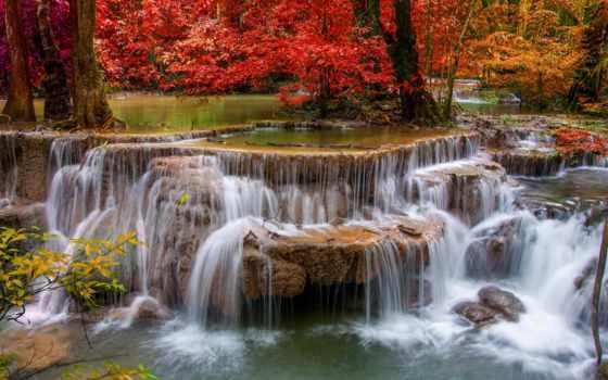 водопад, осень, фотообои, природа, водопады, стену,