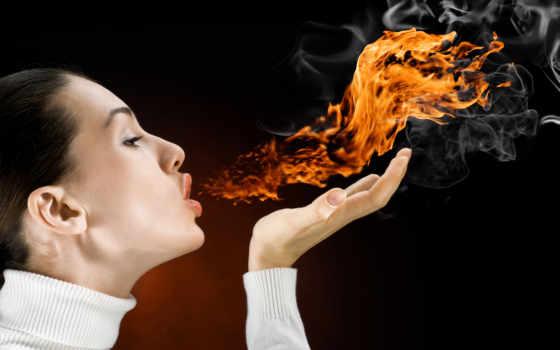 огонь, fone, черном, девушка, рта, выдыхающая,