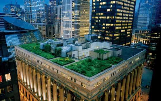 сад, крыша, небоскребы, архитектура, терраса, крыше, чикаго, сша, вечер, дома, картинка, building,