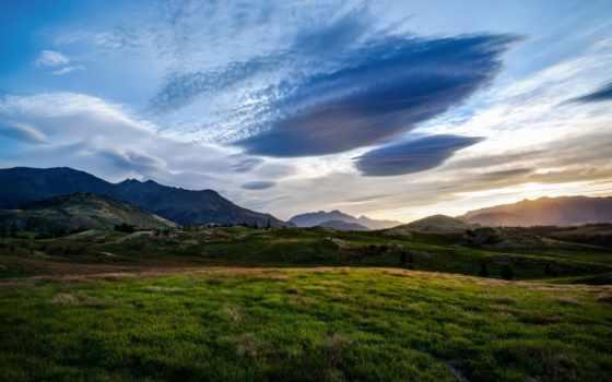новая, zealand, landscape, природа, небо, трава, луга, облака, queenstown,