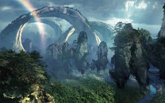 горы, аватар, джунгли, pandora, острова, камни, летающие,