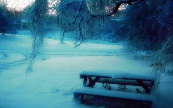 снег, скамейка, дек