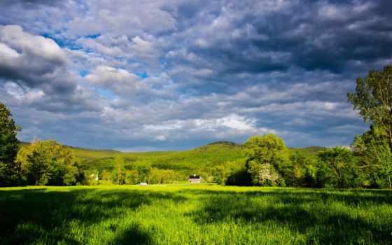 горы, луга, margin, леса, reki, природа, небо, поле, kelluke,