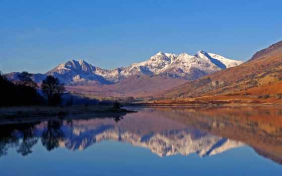 llyn, wales, весна, north, восход, mymbyr, snowdon, roberts, подкова, лес, природа,