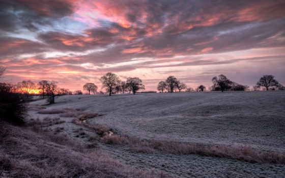 закат, winter, природа, trees, tapety, paul, страница, небо, поле,