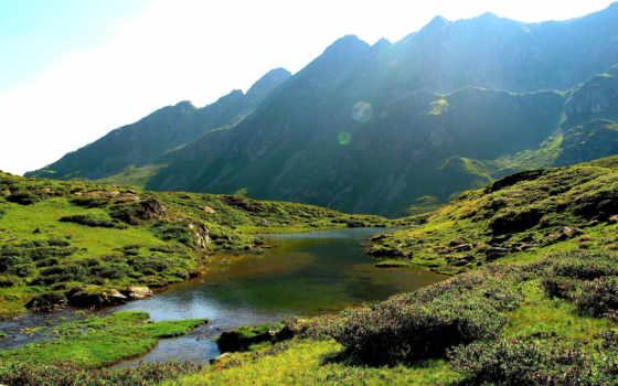 summer, landscape, река, горы, sun, rays, зелёный, склон, природа,