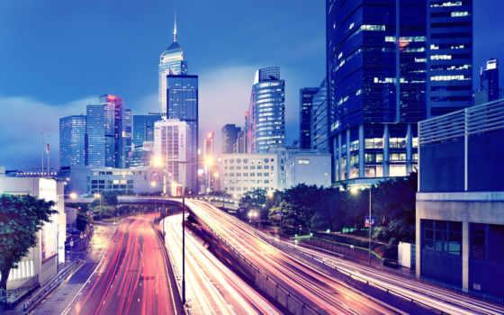 коллекция, пейзажи -, город, города, здания, огни, небоскребы, нью, мегаполис, городские,