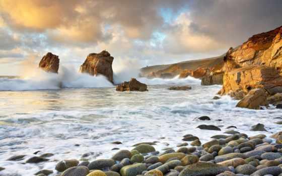 море, скалы, waves, буря, берег, небо, oblaka, горы, камни,