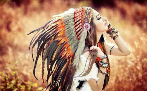 девушка, девушки, перьев, перья, уборе,