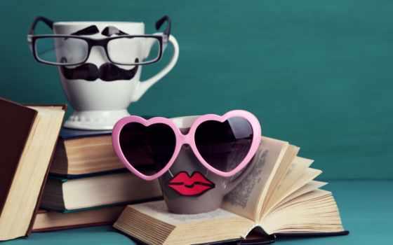 cute, books, funny, усы, очки, lips, cup, книги, креатив,