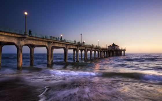los, angeles, море, pier, hdr, мост, full, ночь,