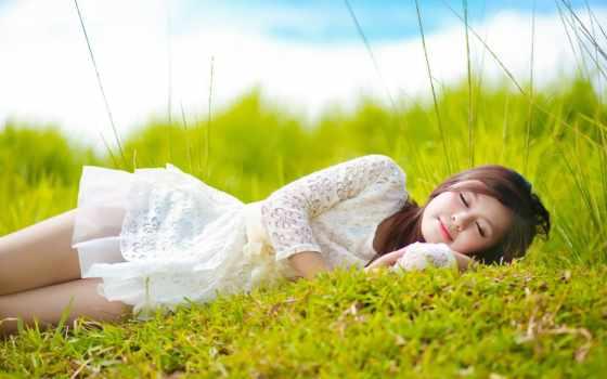 девушка, summer, красивые, белом, платье, разных, траве, зеленой, devushki,