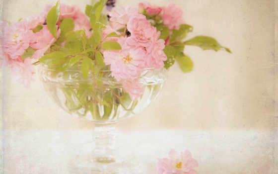 ваза, розы, букет, cvety, цветами, розовые, ретро,