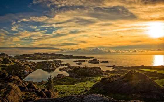 закат, картинка, природа, landscape, побережье, панорама, красавица
