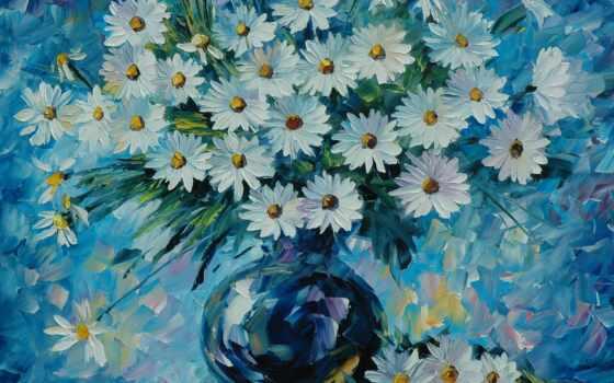 картинка, ваза, нефть, ромашка, натюрморт, цветы, canvas, магазин, интернет, фон