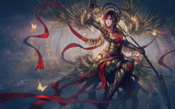 воин, fantasy, арта, девушка, доспех, tape, art, бабочка, оружие, artwork