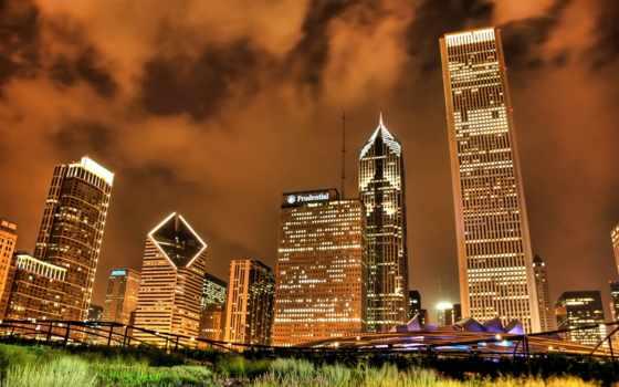 chicago, ночь, огни,