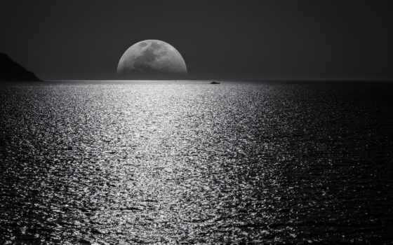black, луна, canvas, white, print, небо, пост