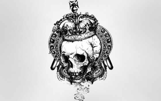 череп, crown, татуировка