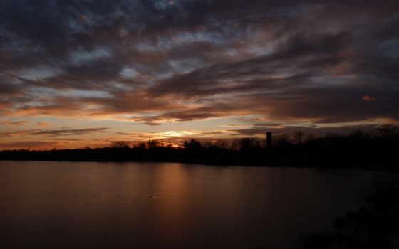 небо, облака, закат