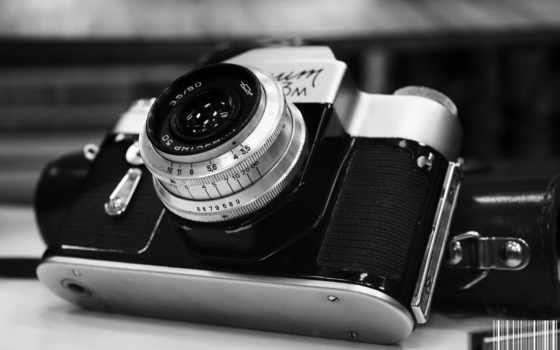 ретро, чёрно, фотоапарат