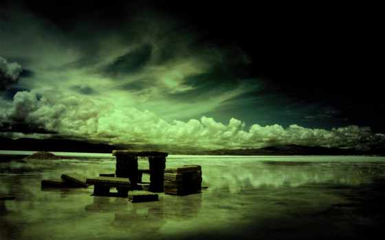 harmony, dark, плиты, озеро, oblaka, каменные, goodfon,