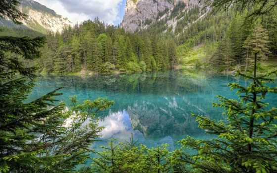 австрия, озеро, гора, горы, elevation, бирюзовый, lakes, зелёный,