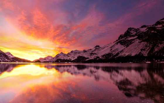 рассвет, горы, winter